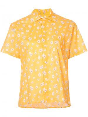 Рубашка с короткими рукавами и цветочным рисунком R13. Цвет: жёлтый и оранжевый