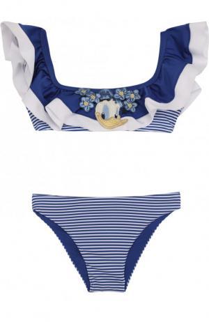 Раздельный купальник с оборками и аппликацией Monnalisa. Цвет: голубой