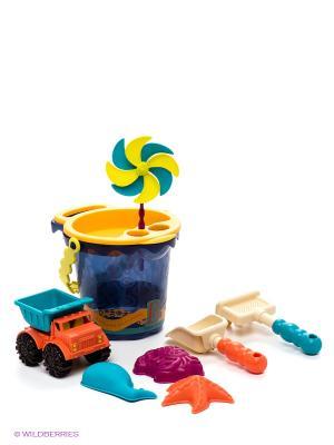 Малое ведерко и игровой набор для песка (9 деталей), голубой Battat. Цвет: желтый