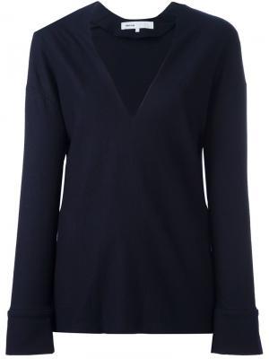 Пуловер с глубоким V-образным вырезом 08Sircus. Цвет: синий