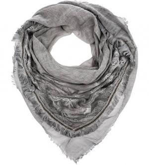 Квадратный серый платок с вышивкой ELEGANZZA. Цвет: серый
