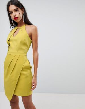 Adelyn Rae Асимметричное платье Tami. Цвет: желтый