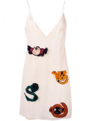 Платье на бретелях с вышивкой Au Jour Le. Цвет: телесный