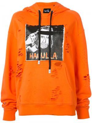 Толстовка с капюшоном принтом в виде логотипа Haculla. Цвет: жёлтый и оранжевый