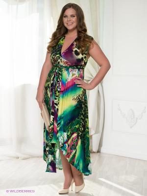 Платье МадаМ Т. Цвет: зеленый, розовый, желтый, черный