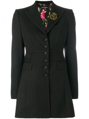 Длинный блейзер с контрастной строчкой Dolce & Gabbana. Цвет: чёрный