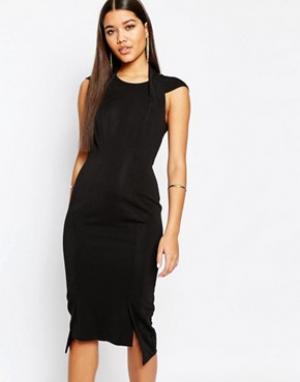 AQ Платье миди с глубоким V-образным вырезом сзади AQ/AQ Hoven. Цвет: черный