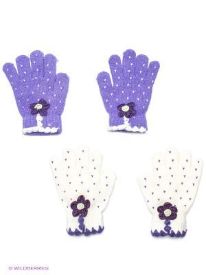 Перчатки, 2 пары FOMAS. Цвет: фиолетовый, белый