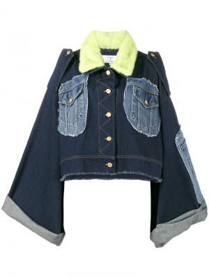 Джинсовая куртка в стиле пэчворк Natasha Zinko. Цвет: синий