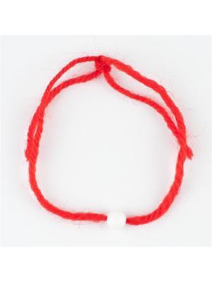 Браслет Красная нить кахолонг Колечки. Цвет: белый
