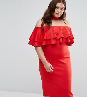 Club L Plus Платье с широким вырезом, оборкой и чокером. Цвет: красный