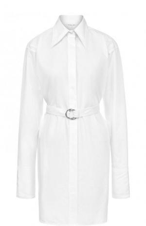 Хлопковое платье-рубашка с поясом Helmut Lang. Цвет: белый