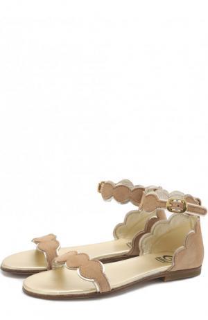 Замшевые сандалии на ремешке Gallucci. Цвет: бежевый