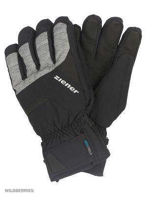 Перчатки Ziener. Цвет: черный, голубой, серый