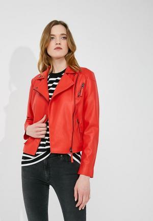 Куртка кожаная Armani Exchange. Цвет: красный