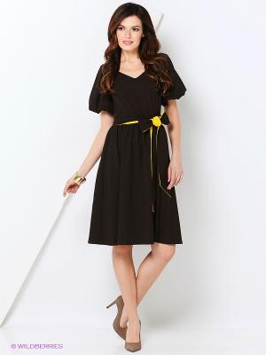 Платье МадаМ Т. Цвет: коричневый, желтый