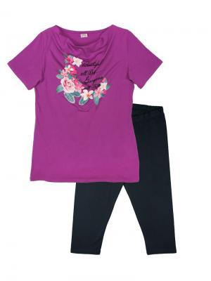 Комплект женский (туника, бриджи) Family Colors. Цвет: фиолетовый