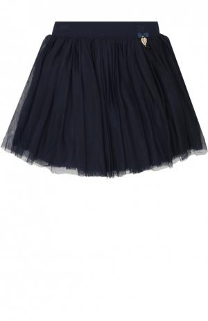 Многослойная юбка с декором Angel's Face. Цвет: темно-синий