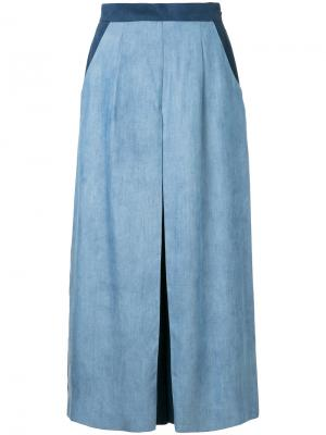 Укороченные брюки с контрастными панелями Guild Prime. Цвет: синий
