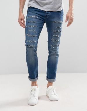 Loyalty & Faith Выбеленные джинсы скинни с рваной отделкой and Doric. Цвет: синий