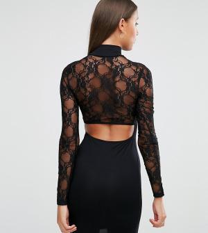 ASOS Tall Платье мини с вырезом сзади и длинными кружевными рукавами. Цвет: черный