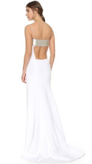 Вечернее платье без рукавов KAUFMANFRANCO. Цвет: серебристый/белый