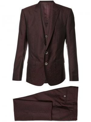 Строгий костюм-тройка Dolce & Gabbana. Цвет: розовый и фиолетовый