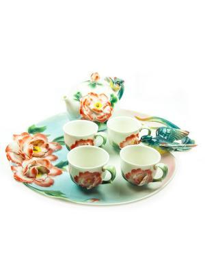 Подарочный набор для чайной церемонии Райская птица на 4 персоны Русские подарки. Цвет: белый, зеленый, красный