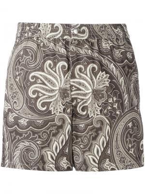 Пляжные шорты с принтом Brioni. Цвет: коричневый