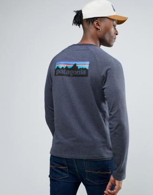Patagonia Темно-синий легкий свитшот с логотипом на спине P-6. Цвет: темно-синий