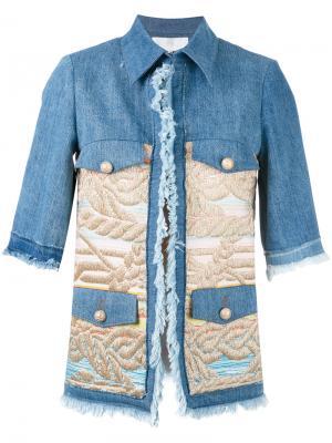 Куртка с жаккардовыми панелями Giada Benincasa. Цвет: синий
