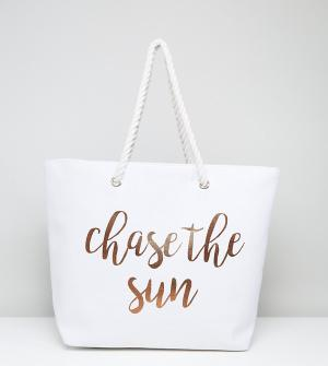 South Beach Пляжная сумка с принтом Chase Sun. Цвет: золотой