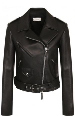 Приталенная кожаная куртка с косой молнией The Row. Цвет: черный