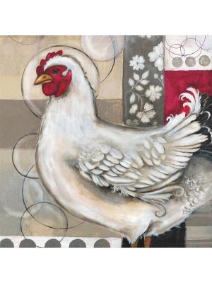 Декоративная наволочка Романтическая курица Матренин Посад. Цвет: белый, бежевый