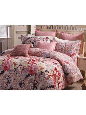 Комплект постельного белья ЕВРО Jardin. Цвет: розовый