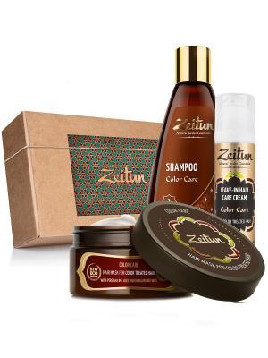 Подарочный набор шампунь, маска, крем-уход Восстановление окрашенных волос Зейтун. Цвет: бежевый