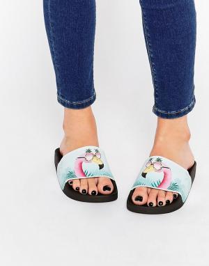 THEWHITEBRAND Сандалии-слайдеры WhiteBrand Cool Flamingo. Цвет: мульти