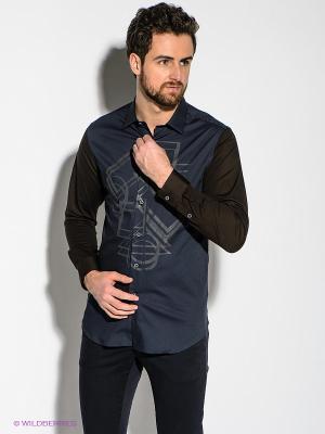 Рубашка Havana & Co. Цвет: синий, коричневый