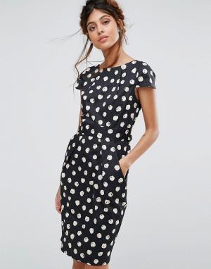 Closet London Платье миди в горошек с короткими рукавами и карманами. Цвет: мульти