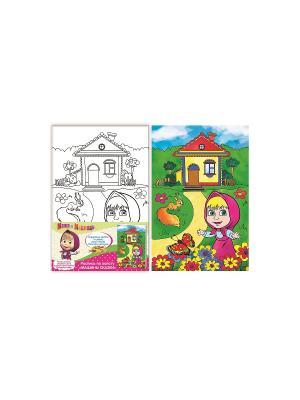 Роспись по холсту, Маша и Медведь. Цвет: желтый, зеленый, розовый