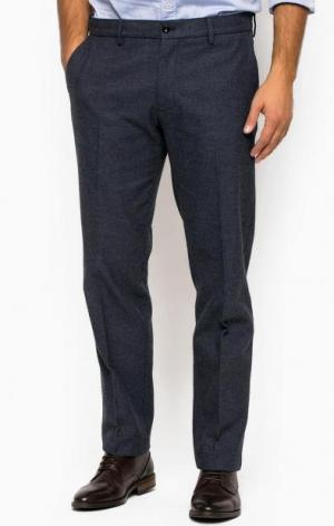 Синие хлопковые зауженные брюки Gant. Цвет: синий