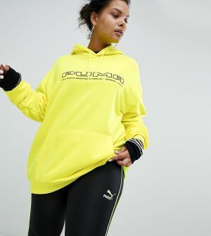 Puma Желтый свитшот с логотипом эксклюзивно для ASOS Plus. Цвет: желтый