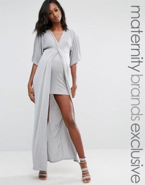 Missguided Maternity Платье макси для беременных с узелком спереди. Цвет: серый