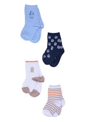 Носки, 4 пары Malerba. Цвет: синий, бежевый