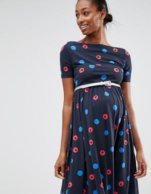 ASOS Maternity Платье для беременных в горошек с ремнем. Цвет: фиолетовый