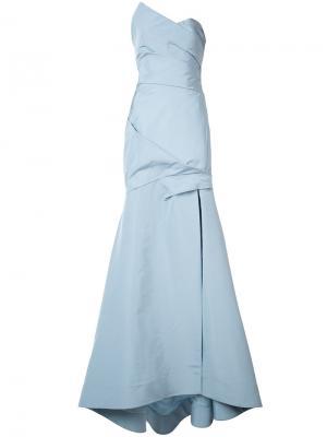 Платье с деталью запахом Monique Lhuillier. Цвет: синий