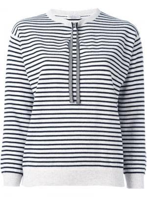 Striped fine knit jumper Brunello Cucinelli. Цвет: серый