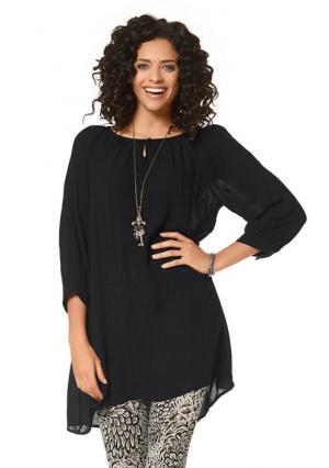 Удлиненная блузка BOYSENS BOYSEN'S. Цвет: темно-синий, хаки, черный