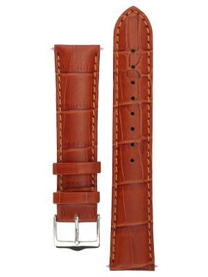 Классический ремешок для часов из кожи теленка с фактурой под аллигатора. Ширина от 14 до 24 мм. Signature. Цвет: коричневый