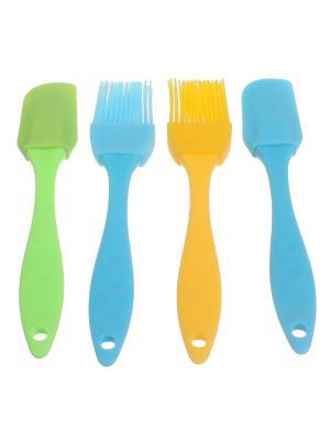 Кухонные силиконовые лопаточки и кисточки, набор из 4 шт., зеленая, синяя, желтая. Радужки. Цвет: синий, желтый, зеленый